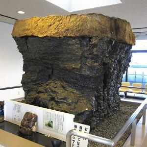 10-тонный кусок бурого угля в Музее бурого угля в Японии